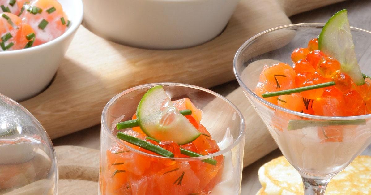 Les petites verrines au saumon et crème fouettée - Saumon..